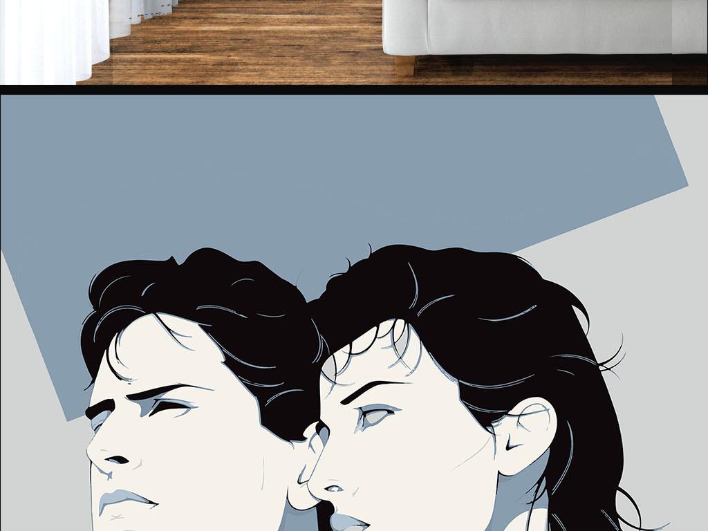 现代简约手绘个性情侣墙纸