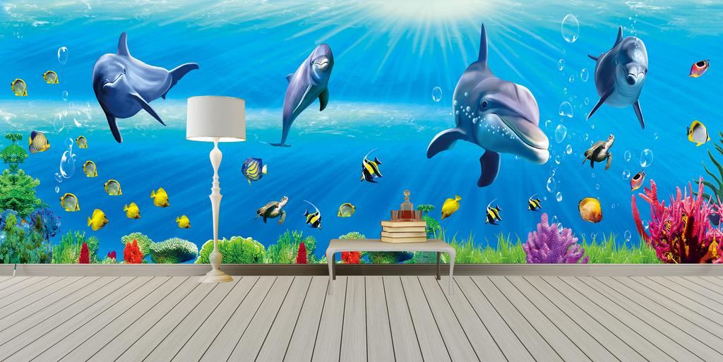 全屋海底世界海豚珊瑚礁海龟背景墙