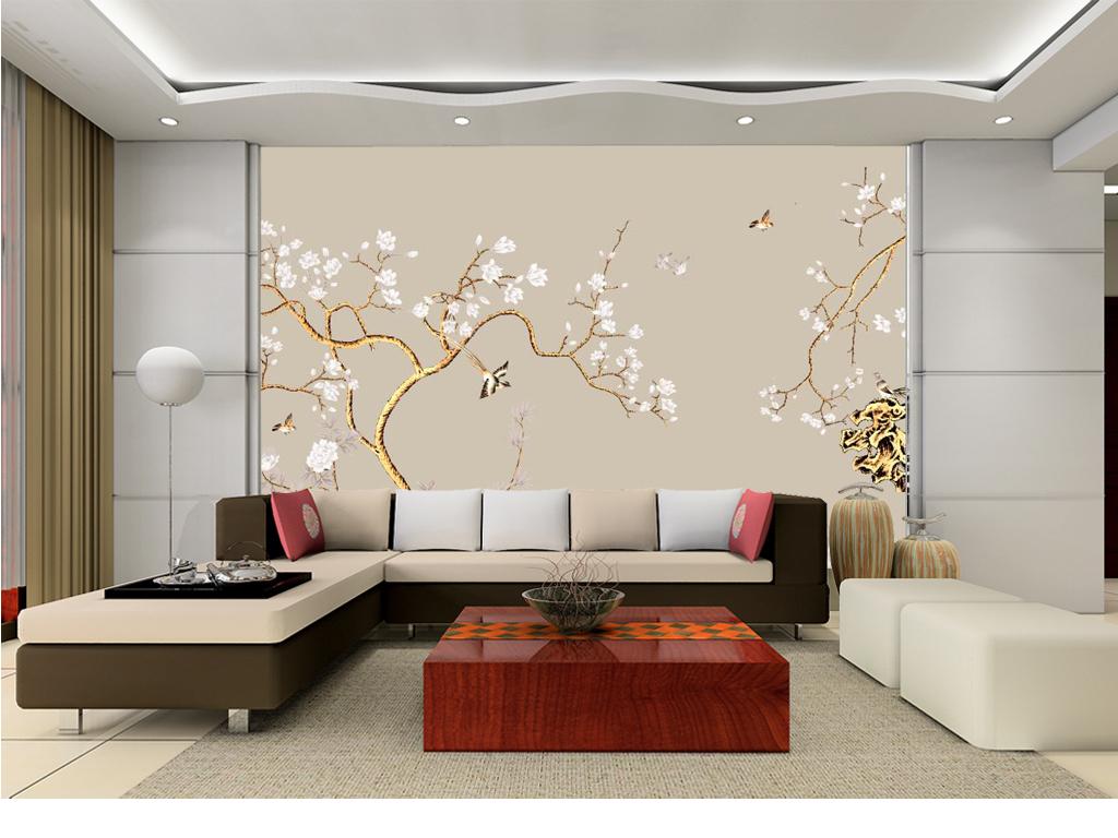 新中式手绘花鸟花枝电视背景墙