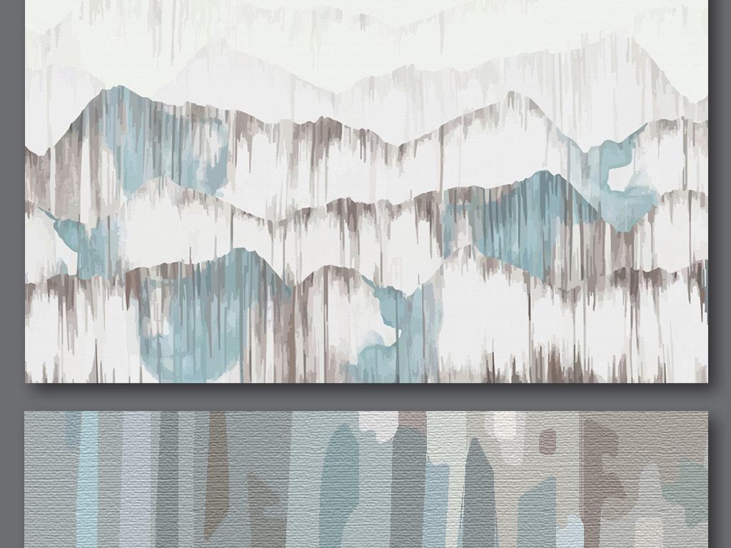 手绘抽象群山背景墙