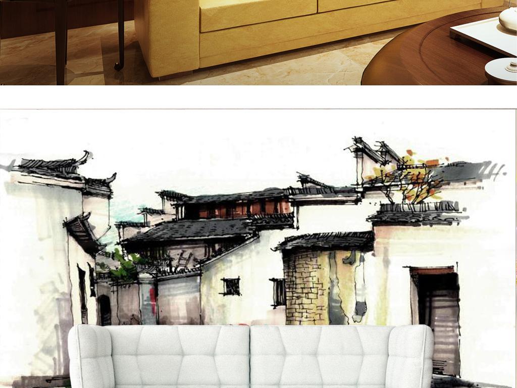 新中式江南民居建筑电视背景墙图片