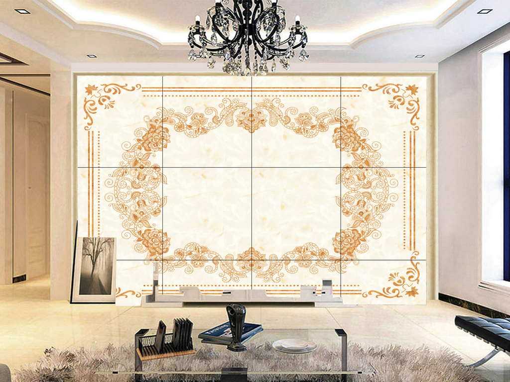 理石欧式花纹花开富贵背景墙