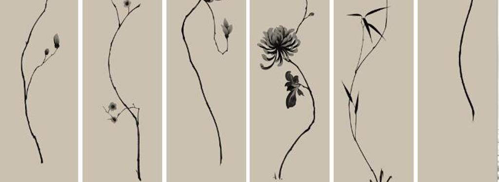 竹子竹叶中式花纹手绘荷花手绘背景电视背景荷花中式荷花背景中式背景