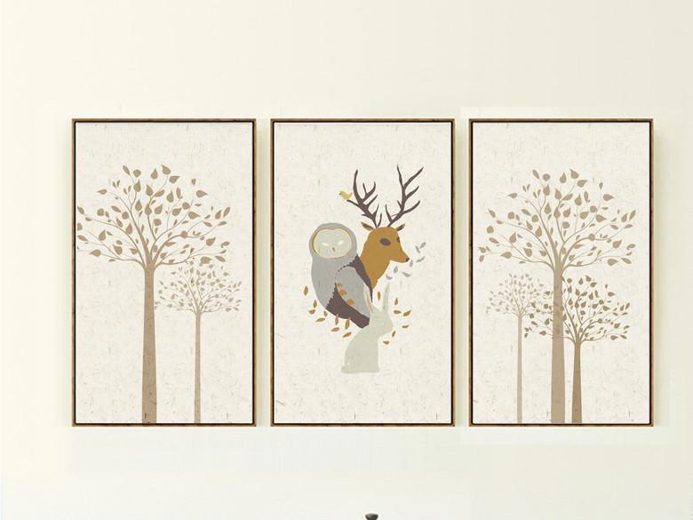 北欧风格自然手绘无框画麋鹿装饰画美克美家