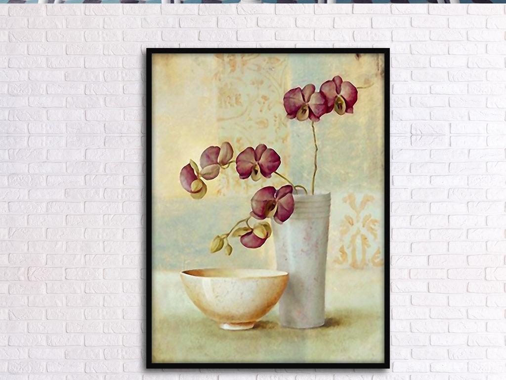 蝴蝶兰静物复古怀旧艺术欧式手绘家居装饰画