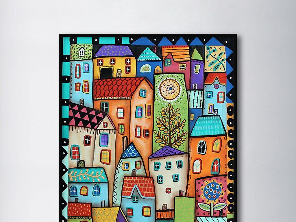 儿童眼中的城市彩色手绘现代欧式风格装饰画