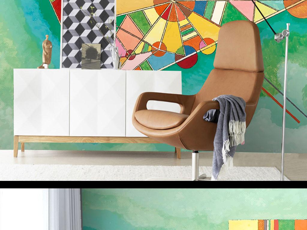 现代手绘涂鸦清新墙纸