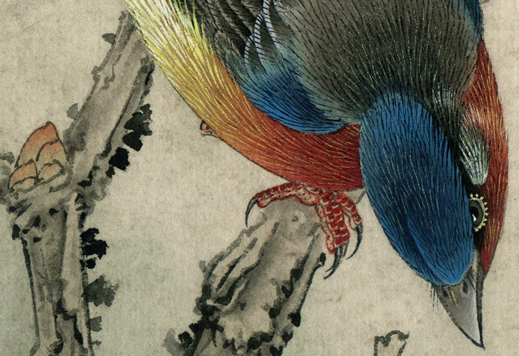 中式四联画花鸟工笔荷花桃花梅花菊花花卉图片