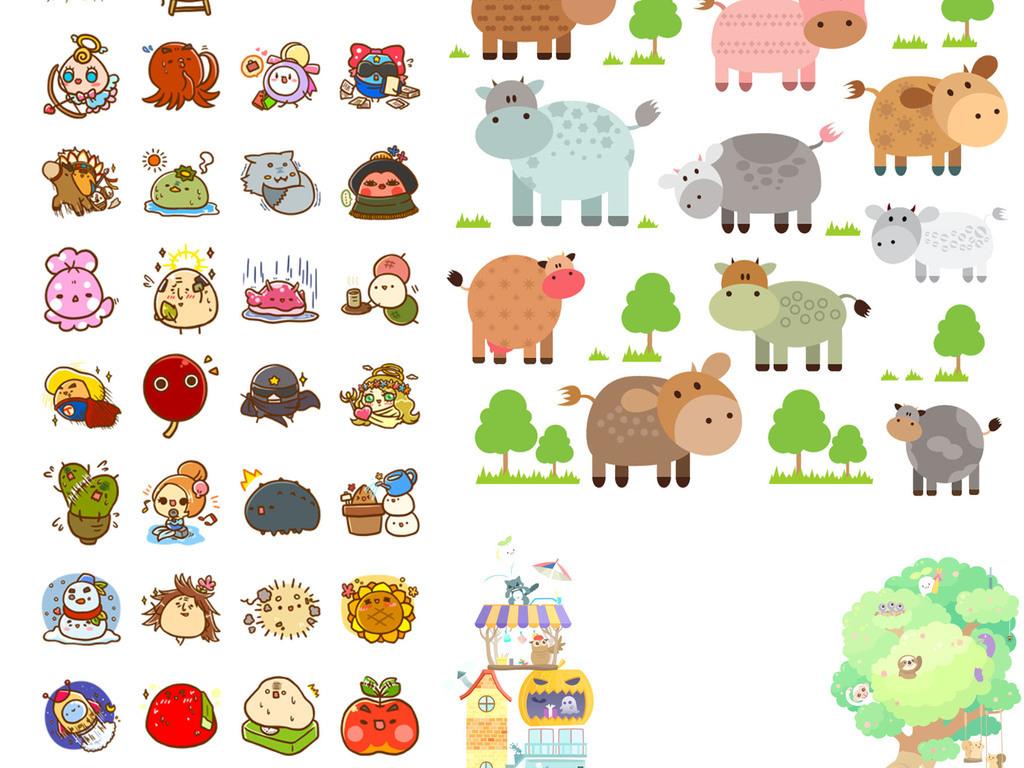 可爱卡通动物素材图片_psd模板下载(4.69mb)_动物大全