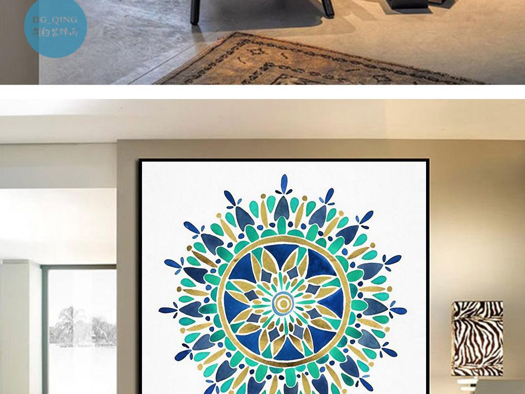 曼陀罗圆圈抽象艺术欧式手绘北欧家居装饰画