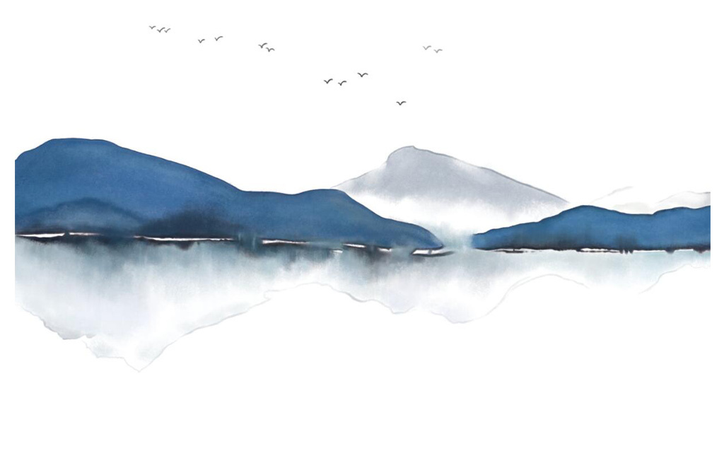 psd)手绘现代简约时尚                                  新中式中国