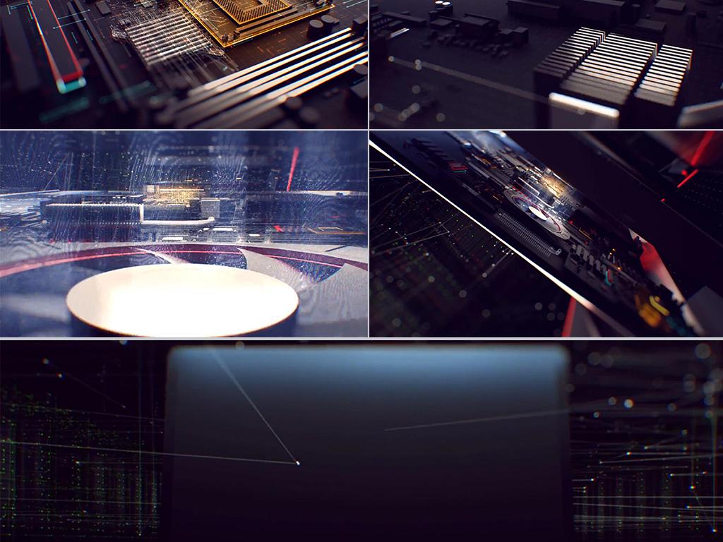高科技电子电脑芯片线路板cg动画