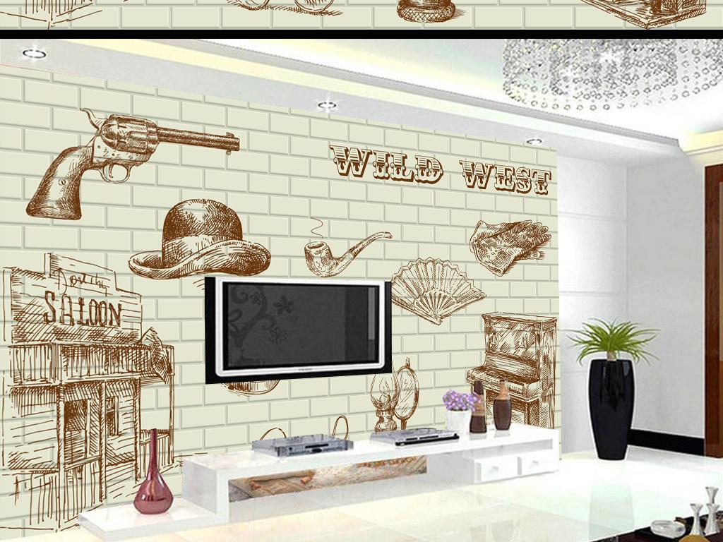 墙效果图电视墙壁画墙画壁纸装饰画瓷砖3d手绘背景时尚背景时尚手绘