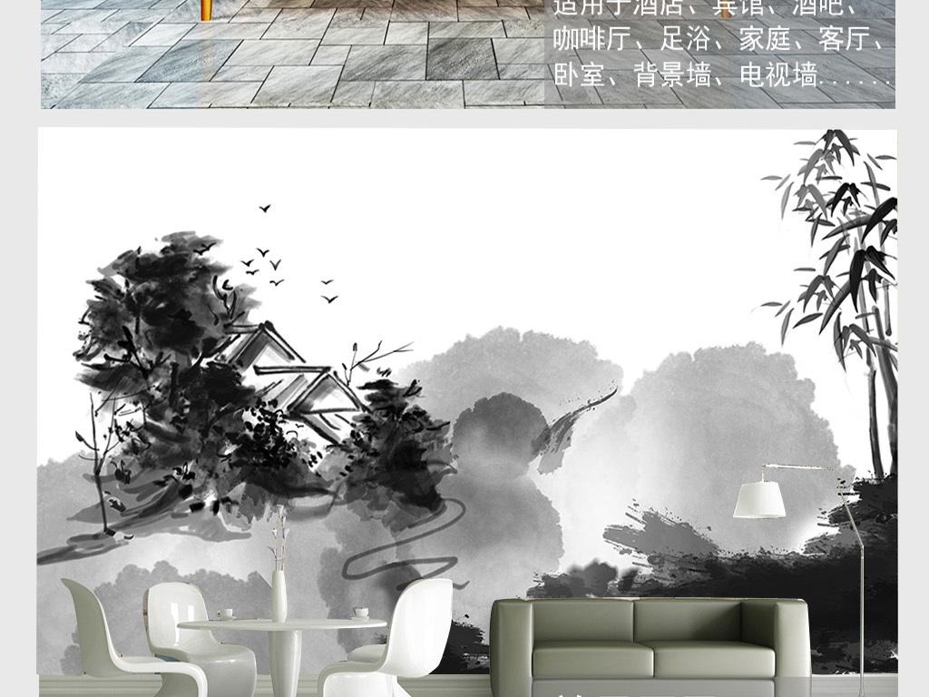 北欧水墨抽象山水背景墙(图片编号:16024554)_手绘墙