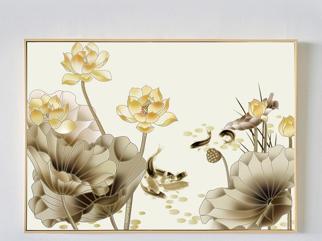 新中式荷花鲤鱼装饰画工笔画手绘墙背景画图片