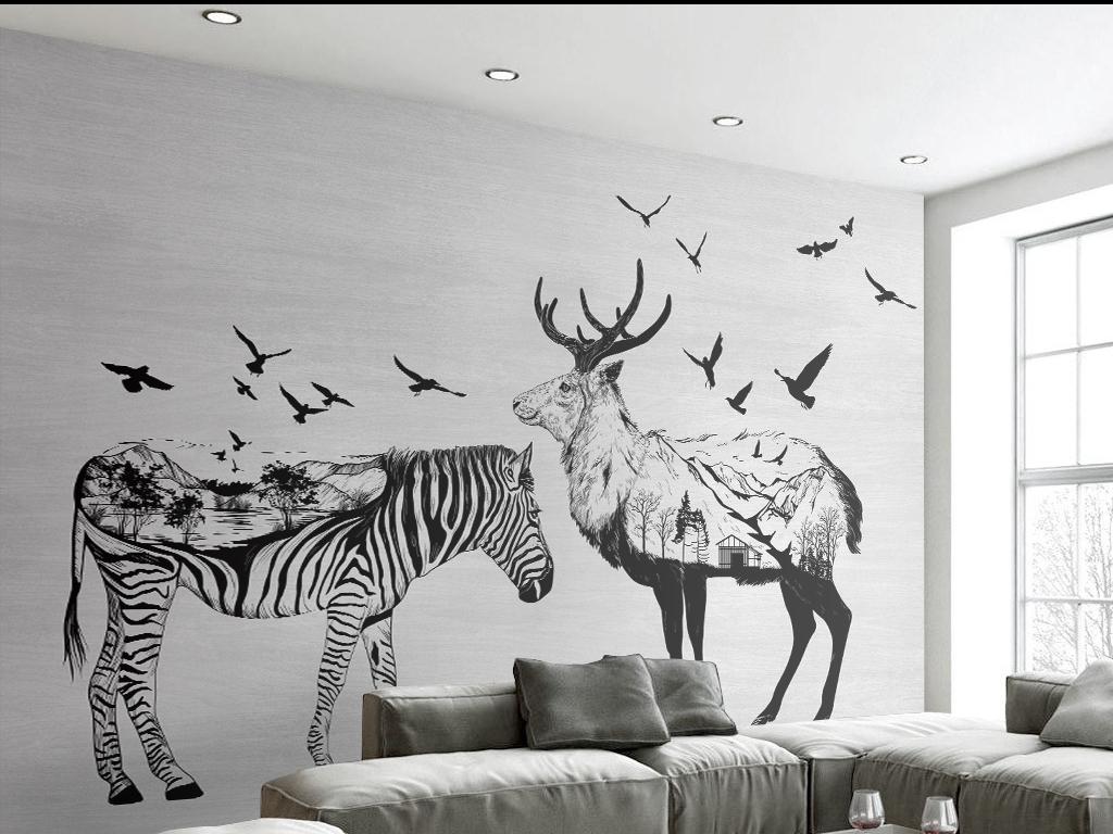 墙手绘墙装饰画鸟群北欧风格麋鹿斑马手绘麋鹿手绘