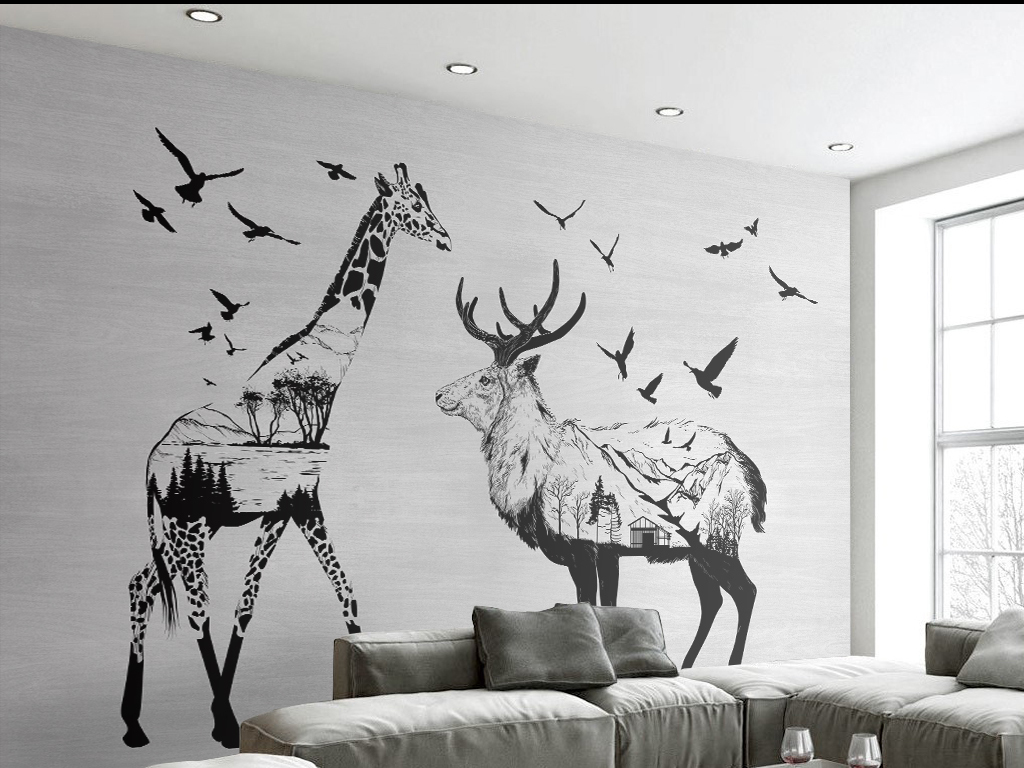 背景墙手绘墙装饰画鸟鸟群麋鹿长颈鹿欧风北欧背景欧风背景手绘背景手
