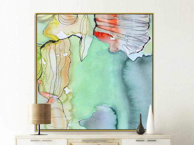 北欧现代绿色渐变色块抽象装饰画