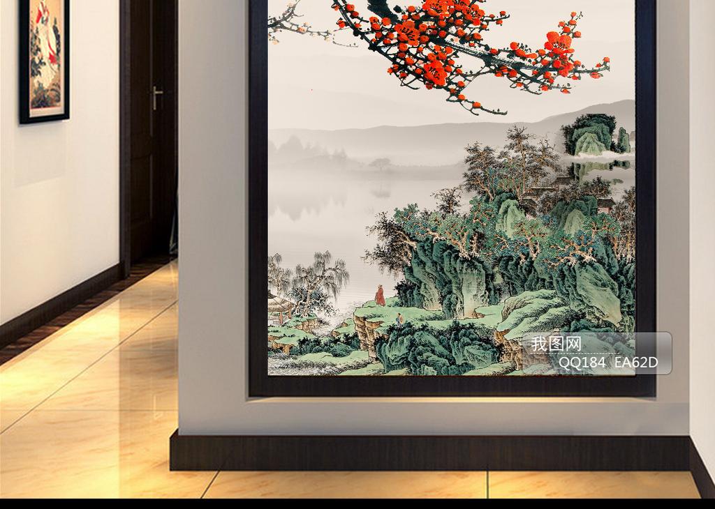 水墨画梅花中式装饰画玄关背景墙图片