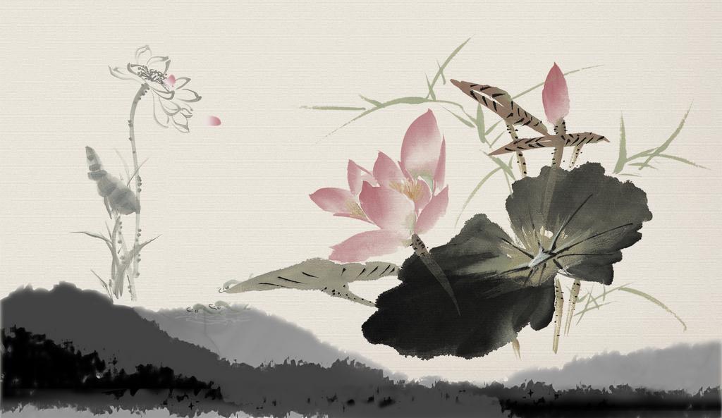 新中式中国风手绘工笔荷花莲花壁画装饰画图片