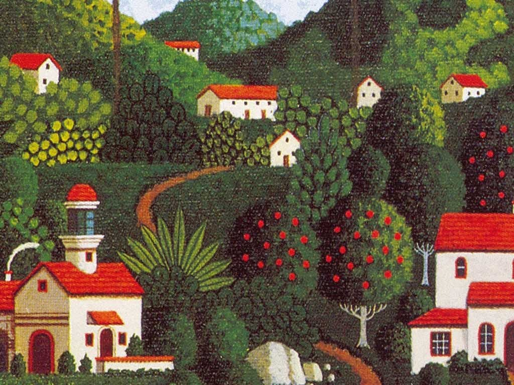 手绘油画美国乡村风景巨幅背景墙