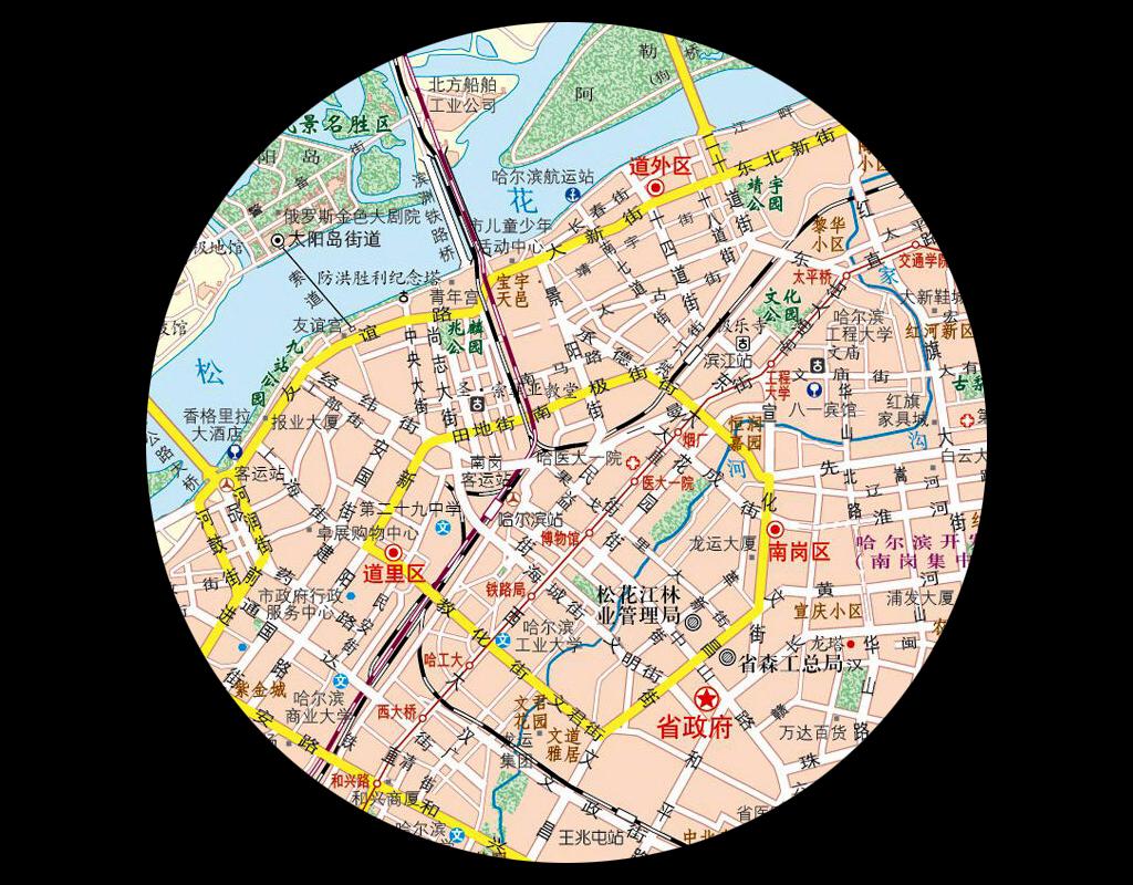 哈尔滨市城区地图