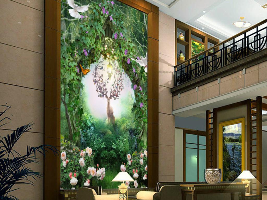 幻田园森林麋鹿3D玄关壁画图片