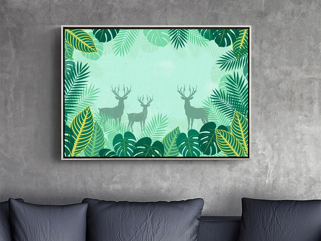 背景墙|装饰画 无框画 动物图案无框画 > 北欧风格森林动物植物装饰画图片