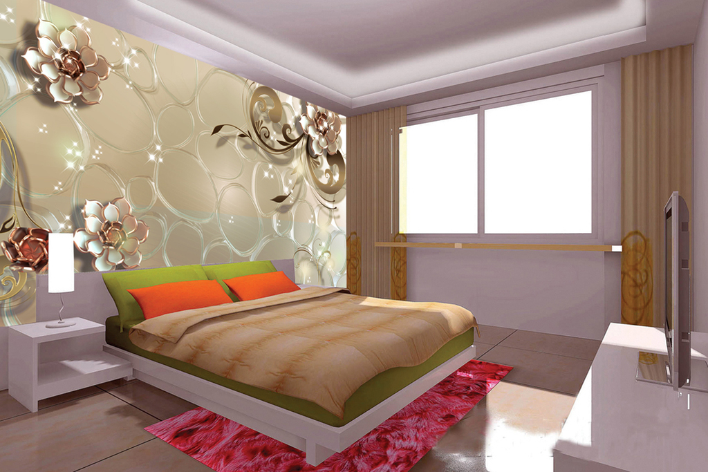 背景墙3d立体3d琉璃3d花3d壁画欧式
