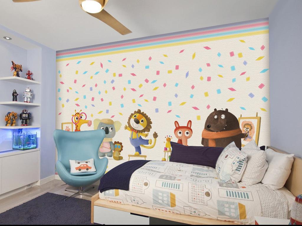 手绘卡通动物彩色壁纸背景墙
