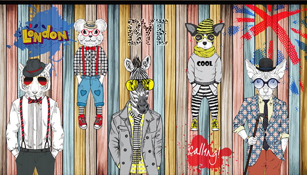 设计作品简介: 手绘抽象动物服装店背景墙