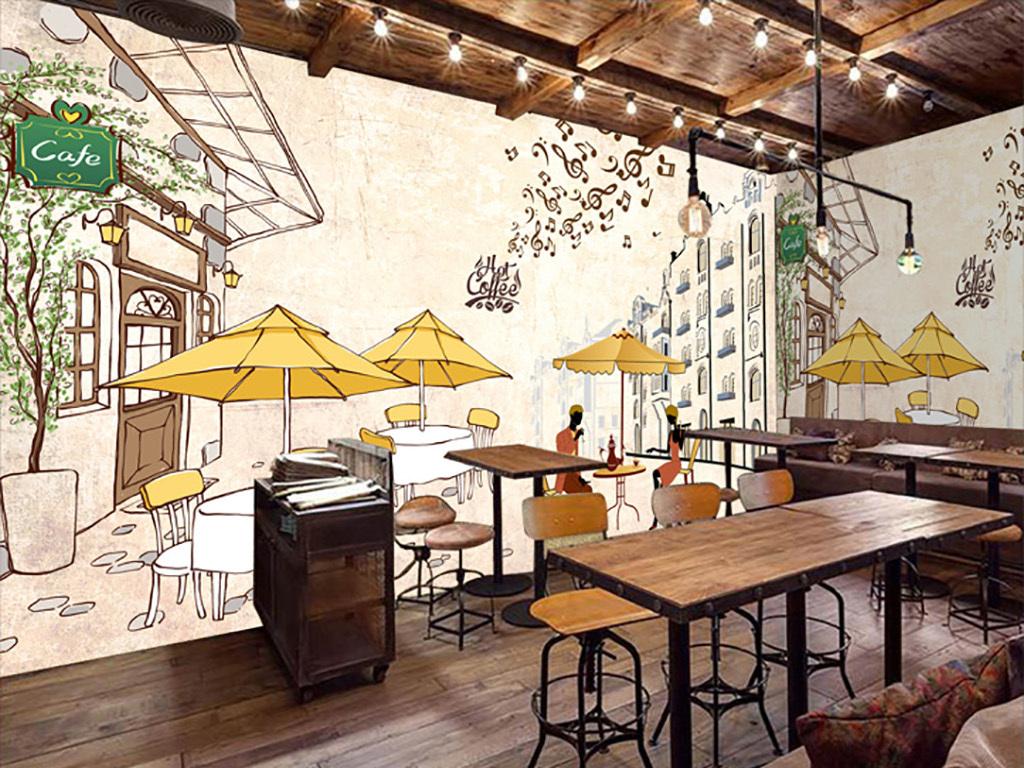 手绘蛋糕餐厅背景墙手绘背景咖啡厅背景咖啡厅手绘咖啡广告背景咖啡杯