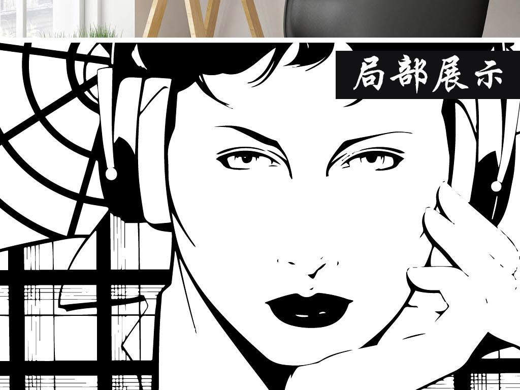 现代简约黑白手绘性感美女无框画