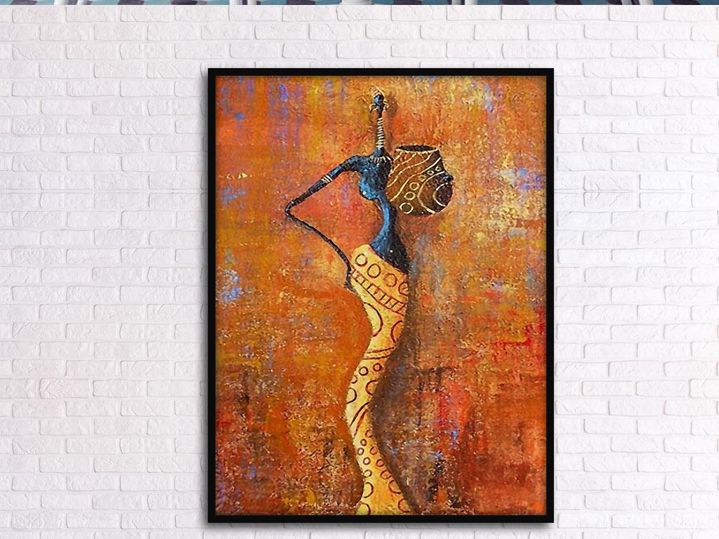 女人陶罐欧式复古怀旧艺术手绘现代装饰画