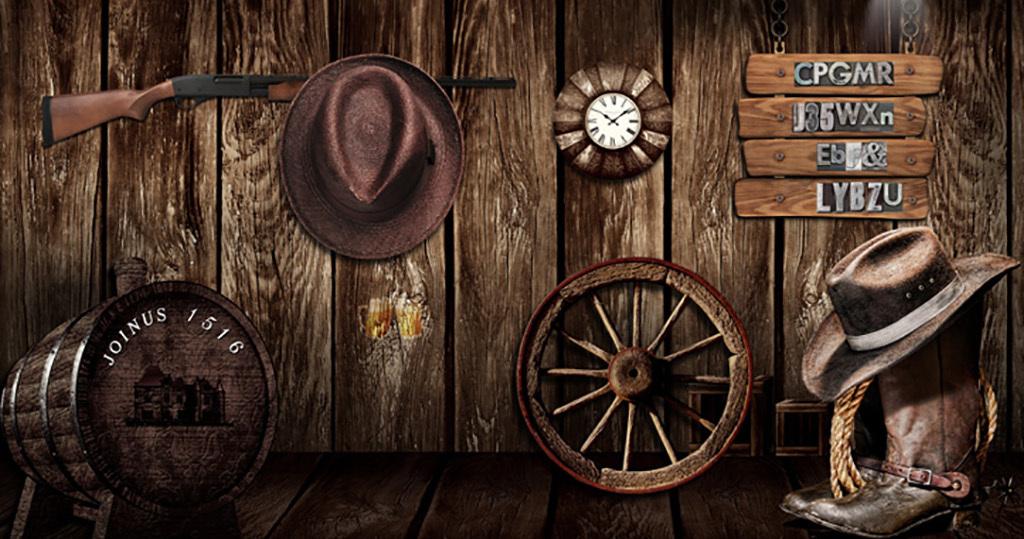 背景墙复古木板墙西部牛仔帽复古背景复古怀旧牛仔怀旧复古3d背景怀