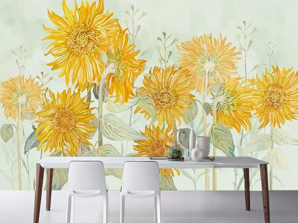 手绘美式田园向日葵花卉客厅电视背景墙