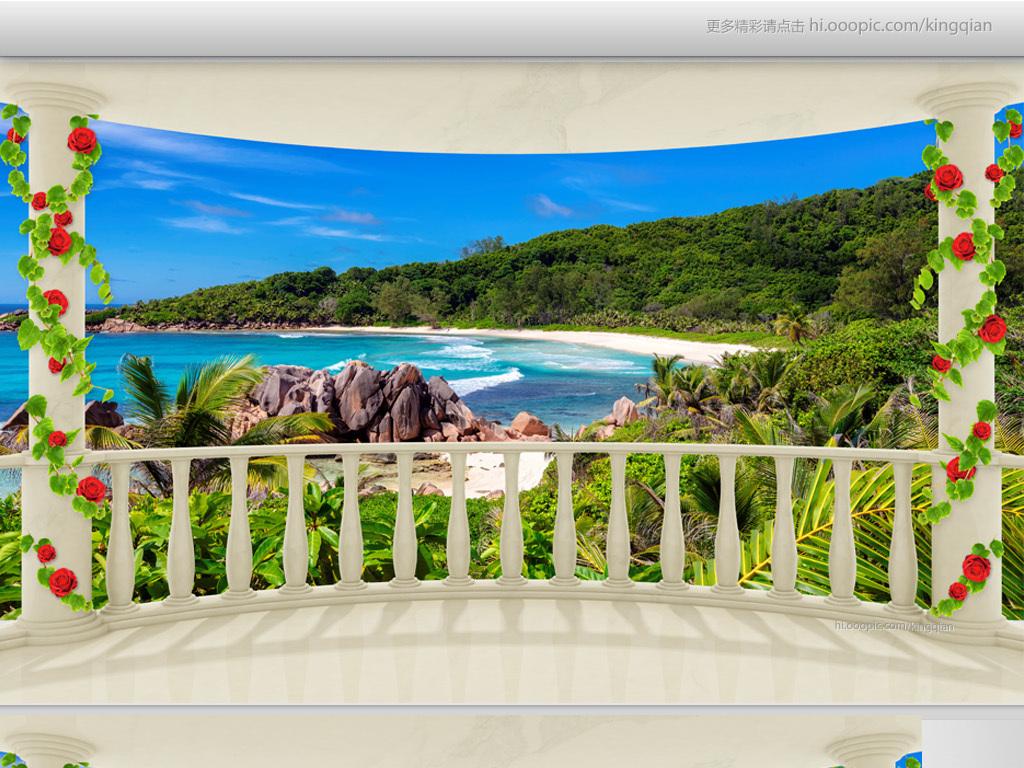 作品模板源文件可以编辑替换,设计作品简介: 欧式阳台海岛海景3d电视