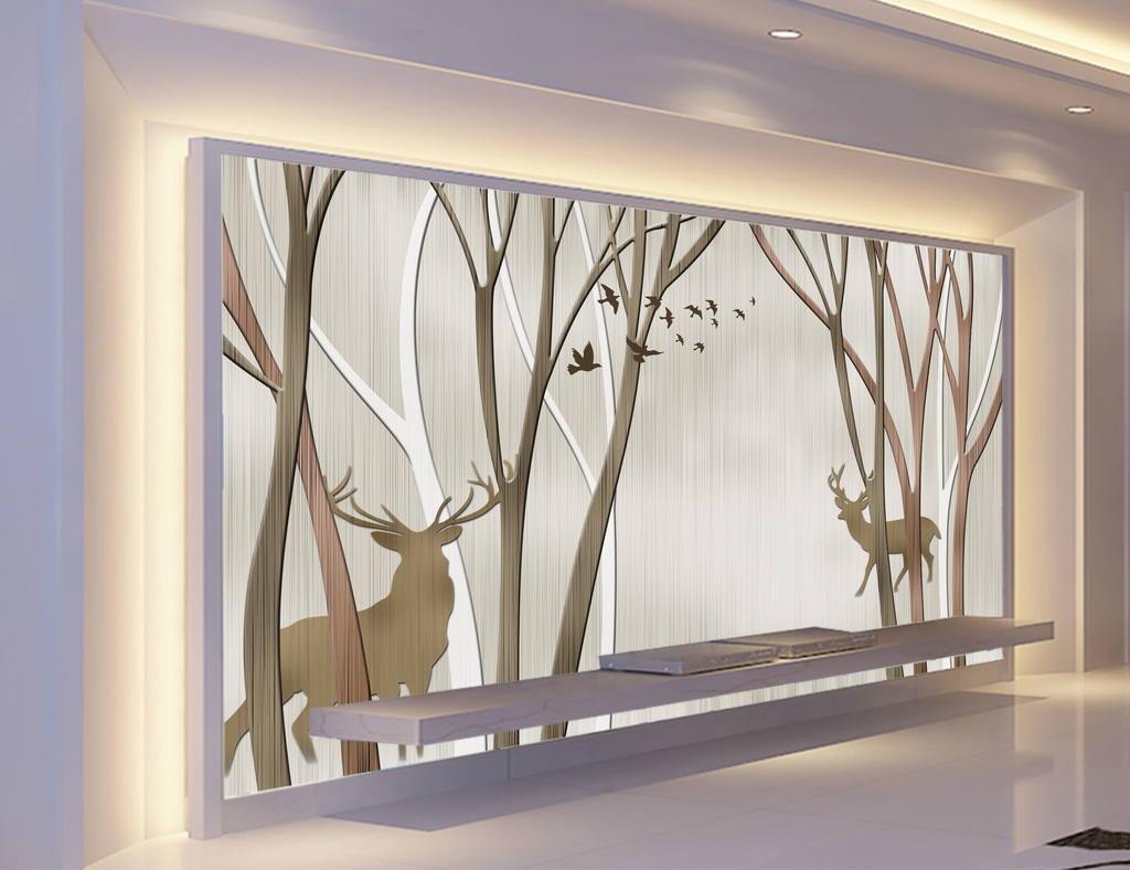 画 电视背景墙 现代简约电视背景墙 > 手绘抽象树麋鹿飞鸟怀旧客厅