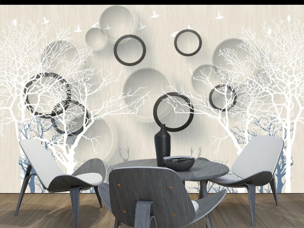 创意3d立体圈圈手绘树小鹿背景墙
