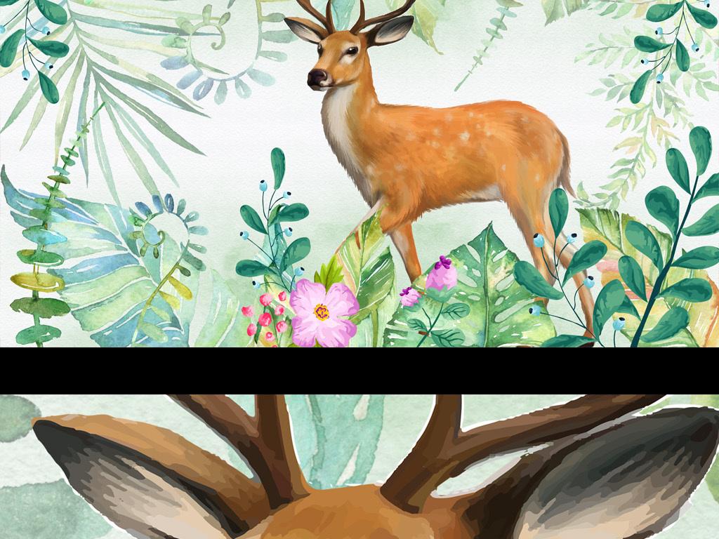 唯美淡雅长颈鹿麋鹿树叶水彩手绘树叶北欧背景小清新