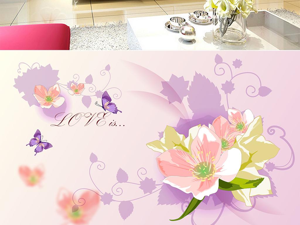 手绘百合唯美梦幻花卉蝴蝶花朵电视背景墙