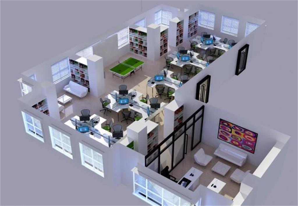 3d效果图_办公室3d效果图