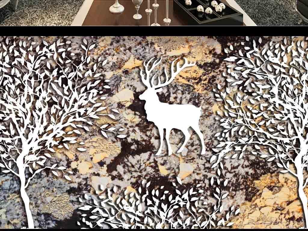 北欧森林麋鹿大理石纹石材背景墙