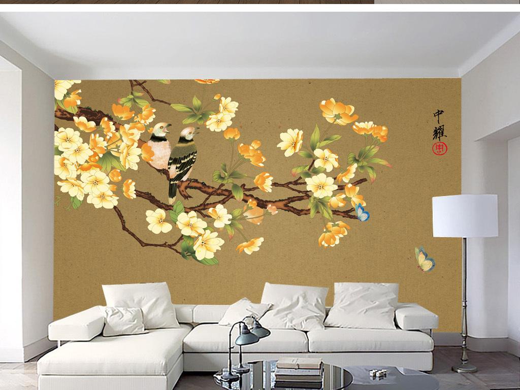 中式花鸟贴图