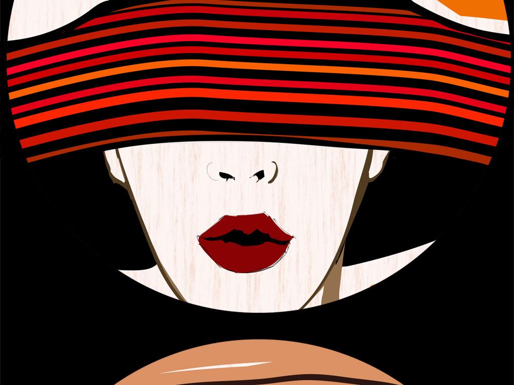 手绘美女欧式葡萄酒红酒ktv酒吧西餐厅背景墙