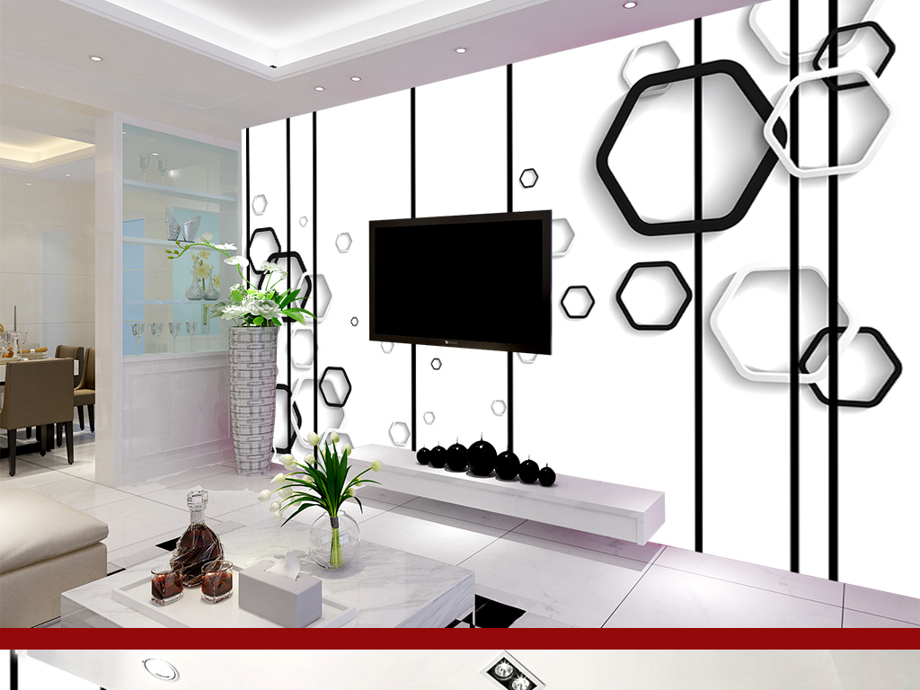 黑白律动现代简约电视背景墙壁画图片设计素材_高清(.图片