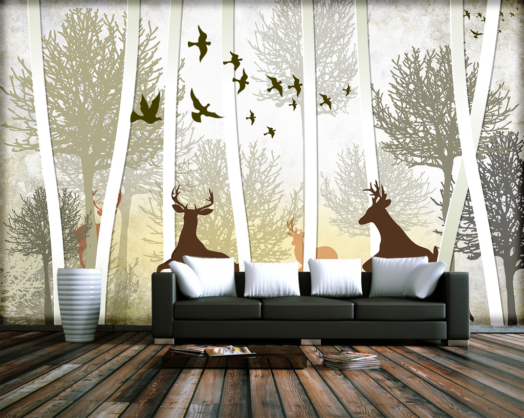 树抽象森林麋鹿鸟欧式现代手绘北欧背景墙