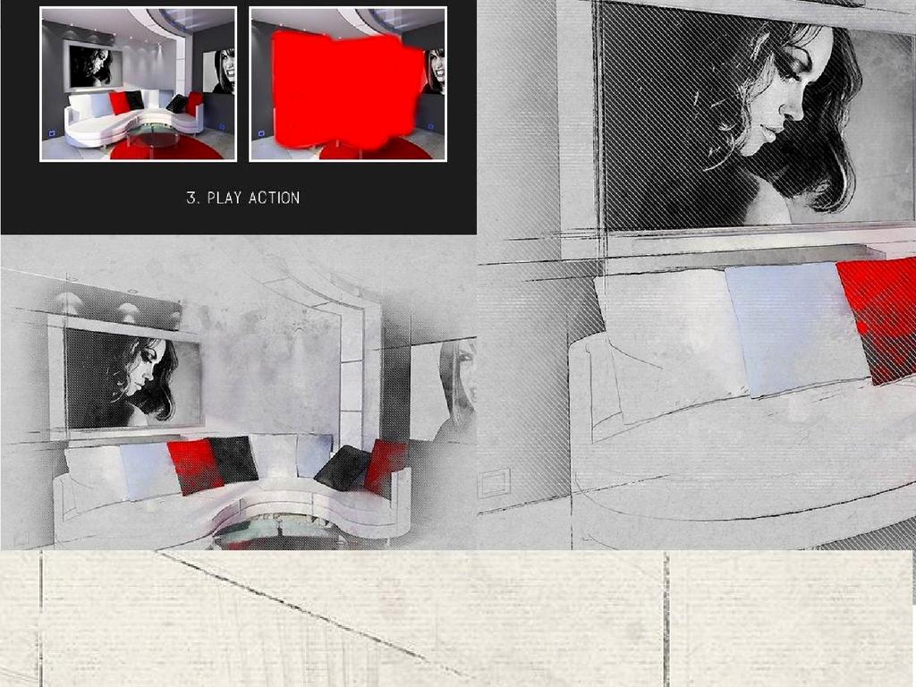 建筑风格手绘特效ps动作