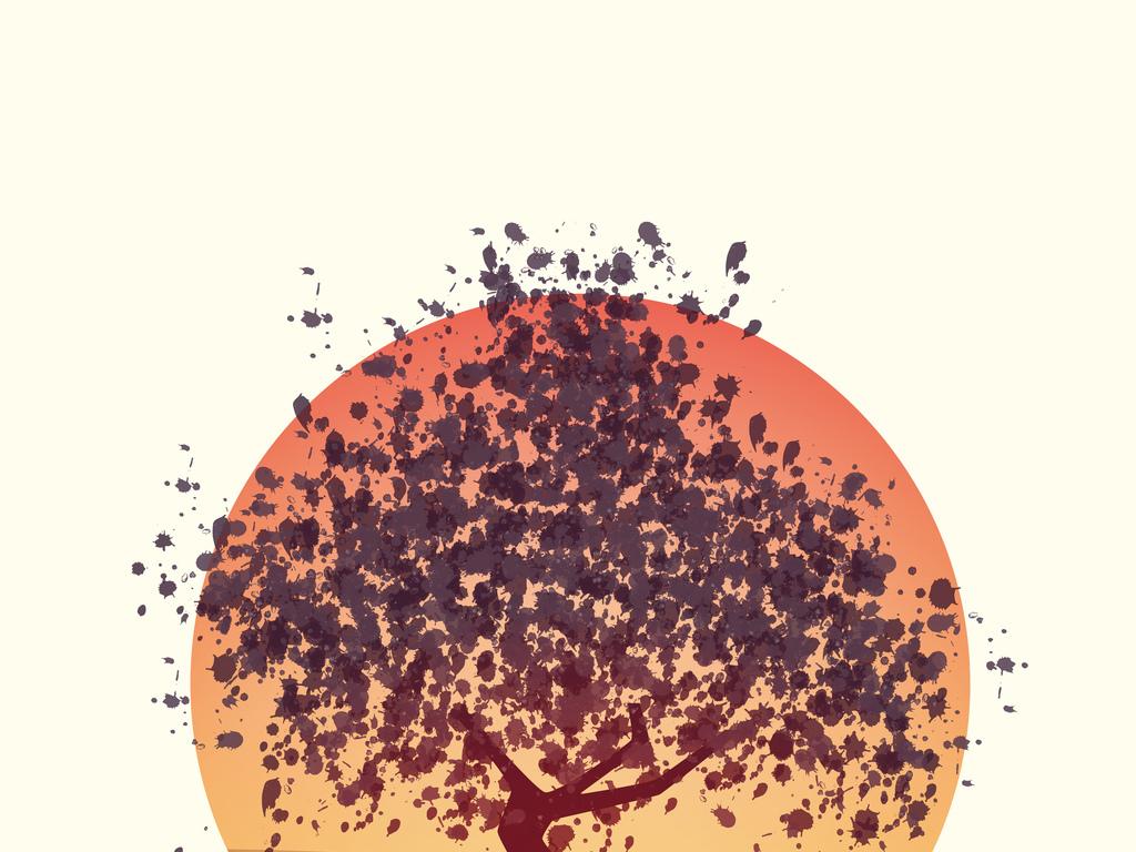 手绘色彩树图片