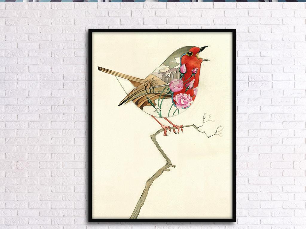 树上鸟欧式手绘现代简约北欧小清新装饰画